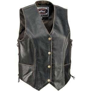 River Road Womens Vintage Leather Vest   2X Large/Black