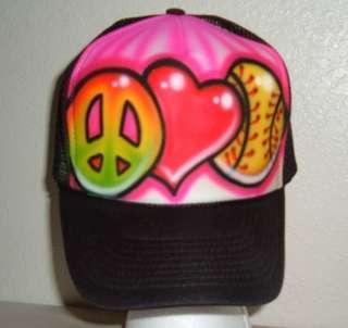 Airbrushed Peace Love Softball Trucker Hat