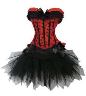 Sexy Red Corset Moulin Rouge Costume /w Tutu Skirt