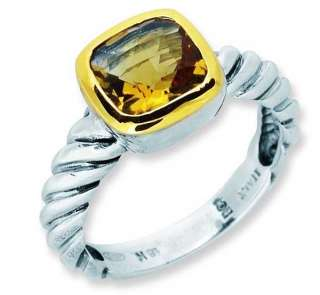 Phillip Gabriel Silver Gold Citrine Ladies Signet Ring