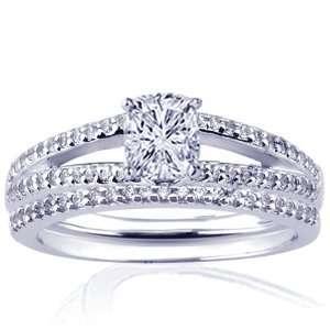 1.50 Ct Cushion Cut Diamond Engagement Wedding Rings Pave Set CUT