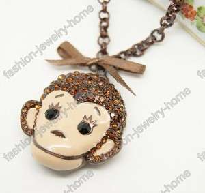 Fashion Cute Brown crystal Monkey Necklace pendant