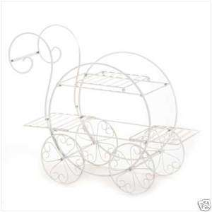HOME DECOR WHITE METAL FRENCH FLOWER CART PLANT STAND