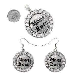Fashion Jewelry ~ Moms Rock Accented with Clear Crystals