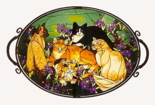 TIFFANY CATS * 10 BEVELED GLASS TABLE TOP PANEL wSTAND