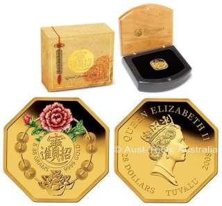 TUVALU $28 2008 Good Fortune Gold Proof Coin w/Box &CoA