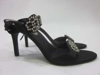 You are bidding on a pair of ENZO ANGIOLINI Black Satin Rhinestone
