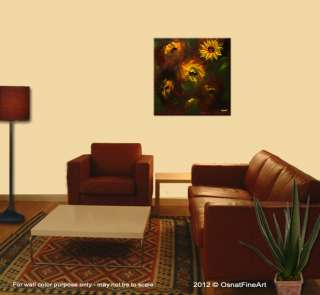 contemporary MODERN fine art sunflowers FLORAL painting OSNAT