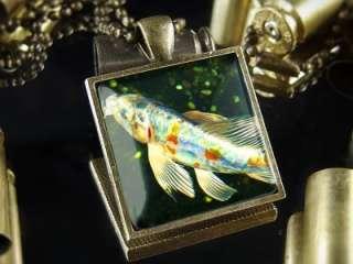 Japanese Koi Fish Oriental Asian Pond Antique Bronze Pendant Necklace