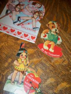 Vintage 1939 Valentine 3 pc Fold Out Card Stick Horse Indian
