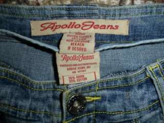 APOLLO jrs sz 9 /10 Low Rise Stretch Flare JEANS WHISKERED Pintuck