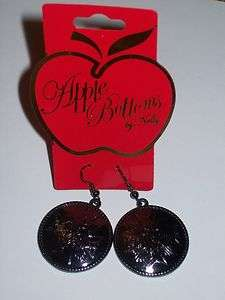 NWT Apple Bottoms Gunmetal Iron Cross Logo Disc Earrings