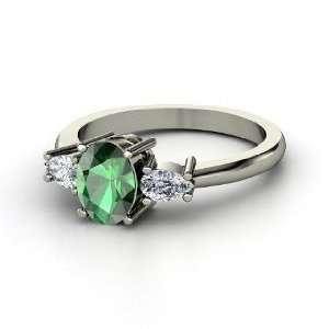 Sydney Ring, Oval Emerald 14K White Gold Ring with Diamond