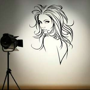 SEXY WOMAN SALON HAIR BEAUTY GRAPHIC STICKER DECAL huge removable