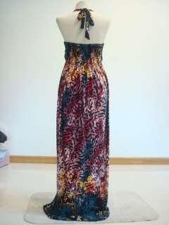 New Vintage Print Red Halter Tube Strapless Long Maxi Dress Sz XXL 3XL