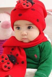 Warm Bettle/Bee Baby Child Hat & Scarf Two Piece Suit