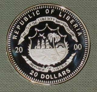 2000 LIBERIA $20 PROOF SILVER COIN 6616 ASW D28