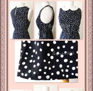 Navy Blue/Cream Polka Dot Contrast Peter Pan Collar CUTE Dress