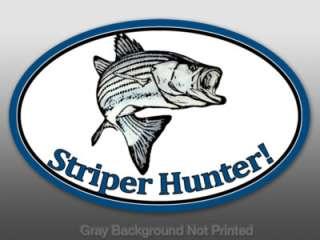 Oval Striper Hunter Sticker  decal hunt fun fishing rod