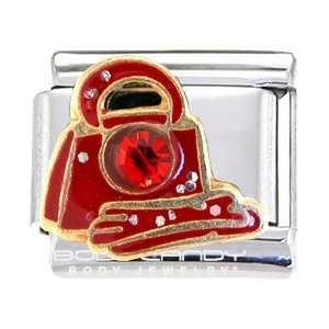 Bedazzled Red Gem Glove And Purse Italian Charm Jewelry