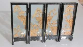 CHINESE DESK TOP FOLDING SCREEN CARVED CORK GLASS WOOD