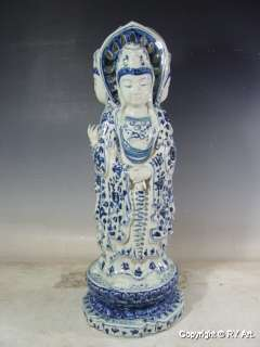 LARGE CHINESE BLUE WHITE PORCELAIN THREE FACED KWAN YIN 23 H