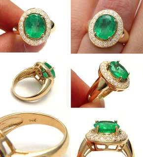 VINTAGE 3.15CTW COLUMBIAN GREEN EMERALD DIAMOND SOLID GOLD CLUSTER