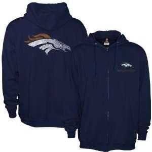 Denver Broncos Navy Blue Touchback Full Zip Hoody