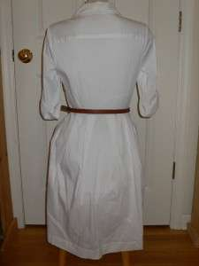 Tory Burch White Blythe Belted Shirt Dress NWT 8