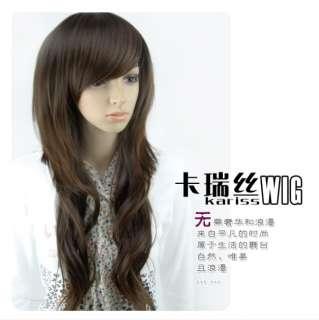 Womens Brown Long COSPLAY WIG Curly Hair Fancy Dress KaneKalon