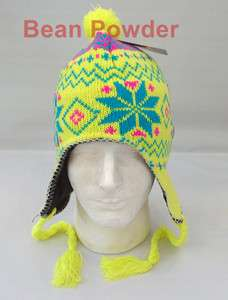 NEON YELLOW*** WINTER CHULLO BEANIE PERUVIAN FLEECE EAR FLAP HAT WARM