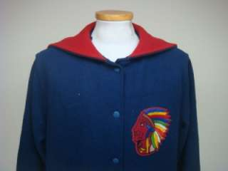 VINTAGE 80 UNKNOWN INDIAN CHIEF HEAD PATCH WOOL VARSITY JACKET