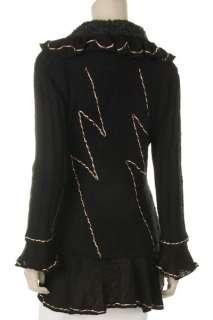 Women Flora Paris Ruffle Cardigan Sweater Long Sleeves Tie Front. S,M