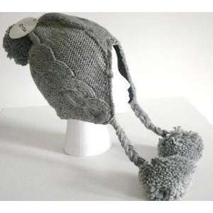 Womens Cable Knit Winter Ski Beanie Ear Flap Hat Pom Grey