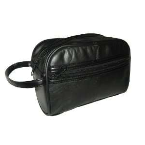 Genuine Lambskin Leather Shaving Bag Toiletries Bag in Black Beauty