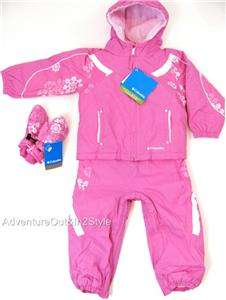 NEW COLUMBIA 3T TODDLER Snowsuit Girls Ski Jacket Bibs & Mitten SET
