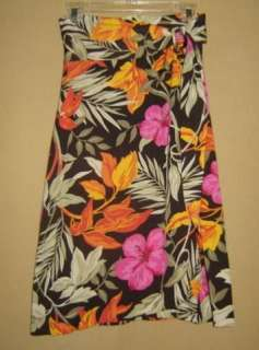 BANANA REPUBLIC Silk TROPICAL FLORAL Print JERSEY Sarong WRAP SKIRT S