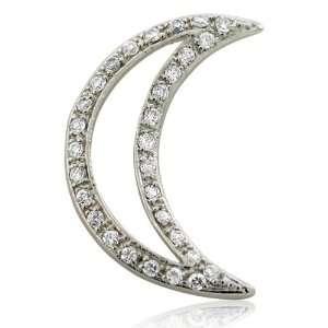Inspired Sterling Silver CZ Moon Pendant Designer Inspired Silver