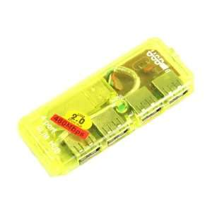 Port Mini USB HUB High Speed 480 Mbps PC Slim Yellow Electronics