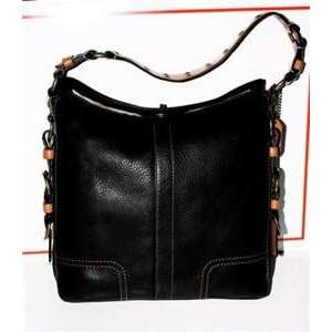 Large Black Pebbled Leather HOBO Bag Purse Handbag
