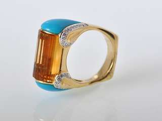 Gadi 18k Yellow Gold Citrine Turquoise Diamond Bar Ring