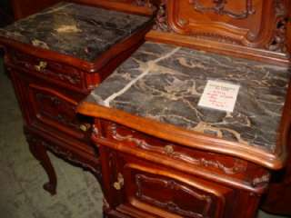 CARVED ANTIQUE ITALIAN MARBLE TOP NIGHT STANDS 08IT027D