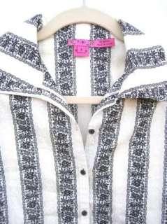 TIBI Womens Black & White Patterned Long Sleeve Button Up Shirt Blouse