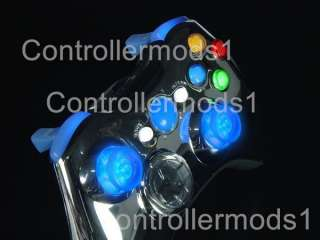BLUE CHROME XBOX 360 RAPID FIRE CONTROLLER W LED STICKS, PROGRAMMABLE