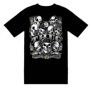 Thug Life Gangster Skull Money T Shirt; Great Gift Ideas for Adults