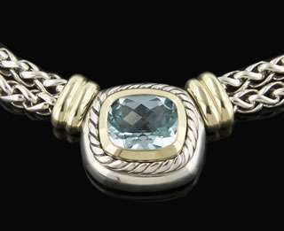 Yurman Sterling Silver / 14k Yellow Gold Blue Topaz Necklace