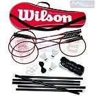 Wilson 4 Badminton Rackets Shuttlecocks Net Poles Hooks Complete Set