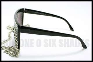 Celebrity Pop Star Fat CHAIN Sunglasses Flat Top BLACK
