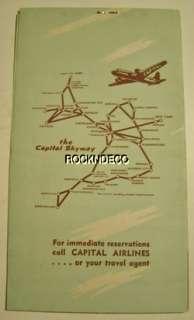 1947 PCA Capital Airlines Ticket & Folder Postcard Pennsylvania