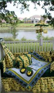 New Crib Bedding Set m/w JOHN DEERE yellow check fabric